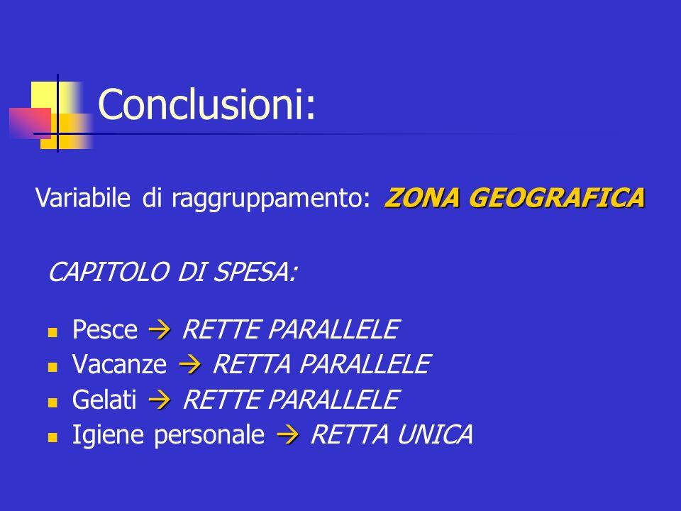 Conclusioni: Variabile di raggruppamento: ZONA GEOGRAFICA