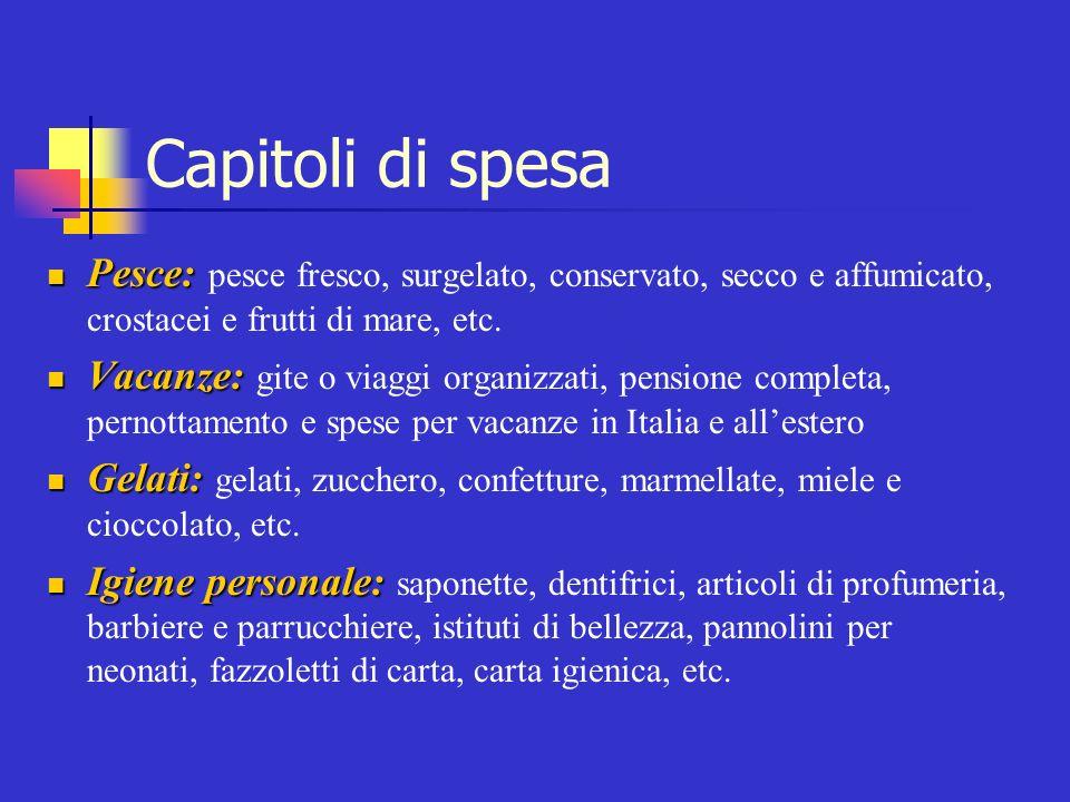 Capitoli di spesa Pesce: pesce fresco, surgelato, conservato, secco e affumicato, crostacei e frutti di mare, etc.