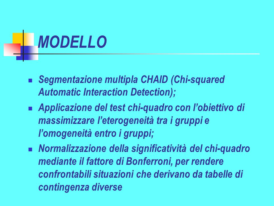 MODELLO Segmentazione multipla CHAID (Chi-squared Automatic Interaction Detection);