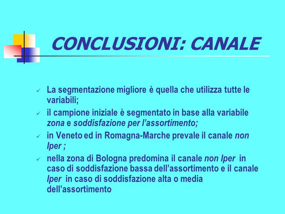 CONCLUSIONI: CANALE La segmentazione migliore è quella che utilizza tutte le variabili;