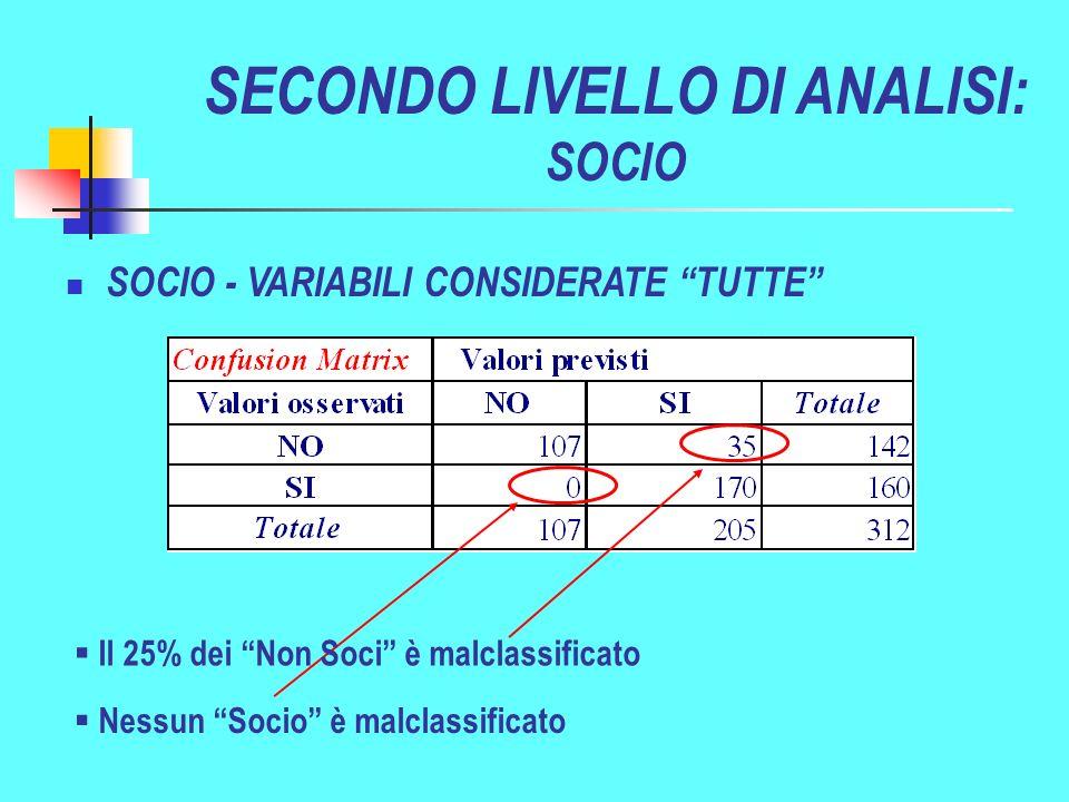 SECONDO LIVELLO DI ANALISI: SOCIO