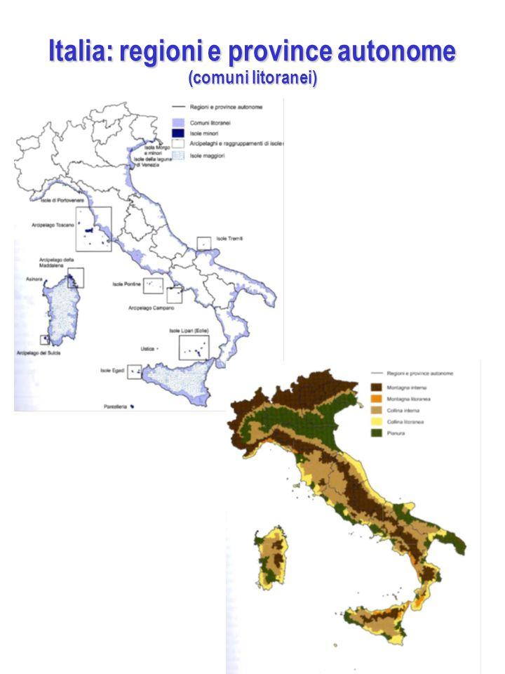 Italia: regioni e province autonome (comuni litoranei)