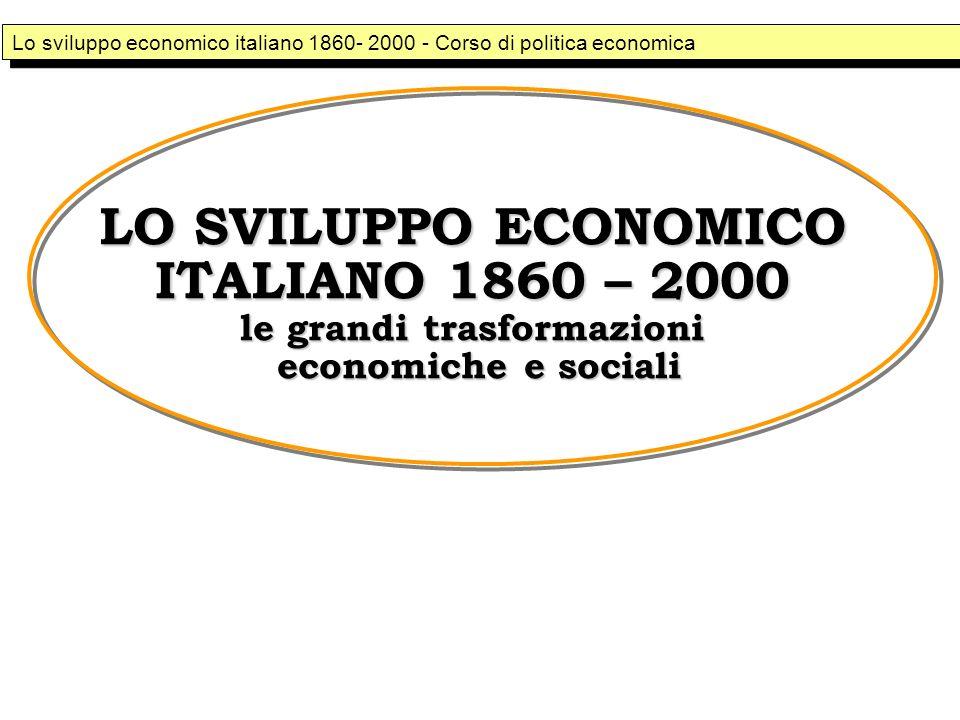 Lo sviluppo economico italiano 1860- 2000 - Corso di politica economica