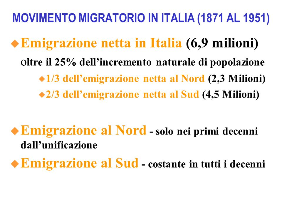MOVIMENTO MIGRATORIO IN ITALIA (1871 AL 1951)