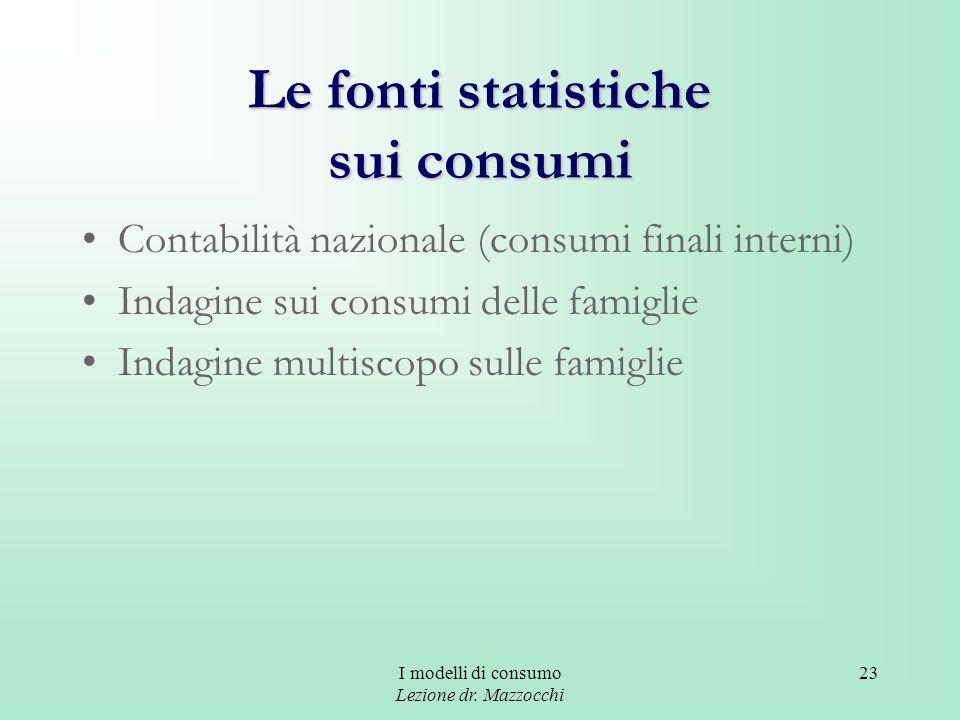 Le fonti statistiche sui consumi