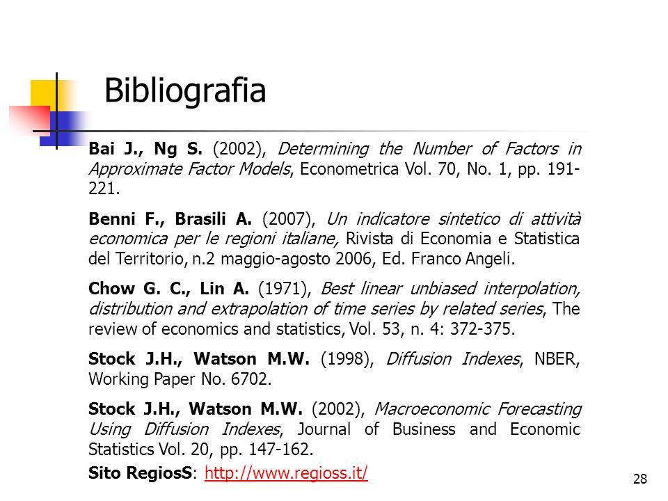 Bibliografia Bai J., Ng S. (2002), Determining the Number of Factors in Approximate Factor Models, Econometrica Vol. 70, No. 1, pp. 191-221.