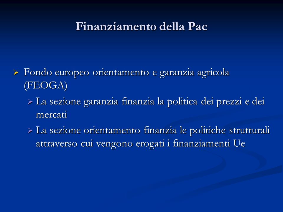 Finanziamento della Pac