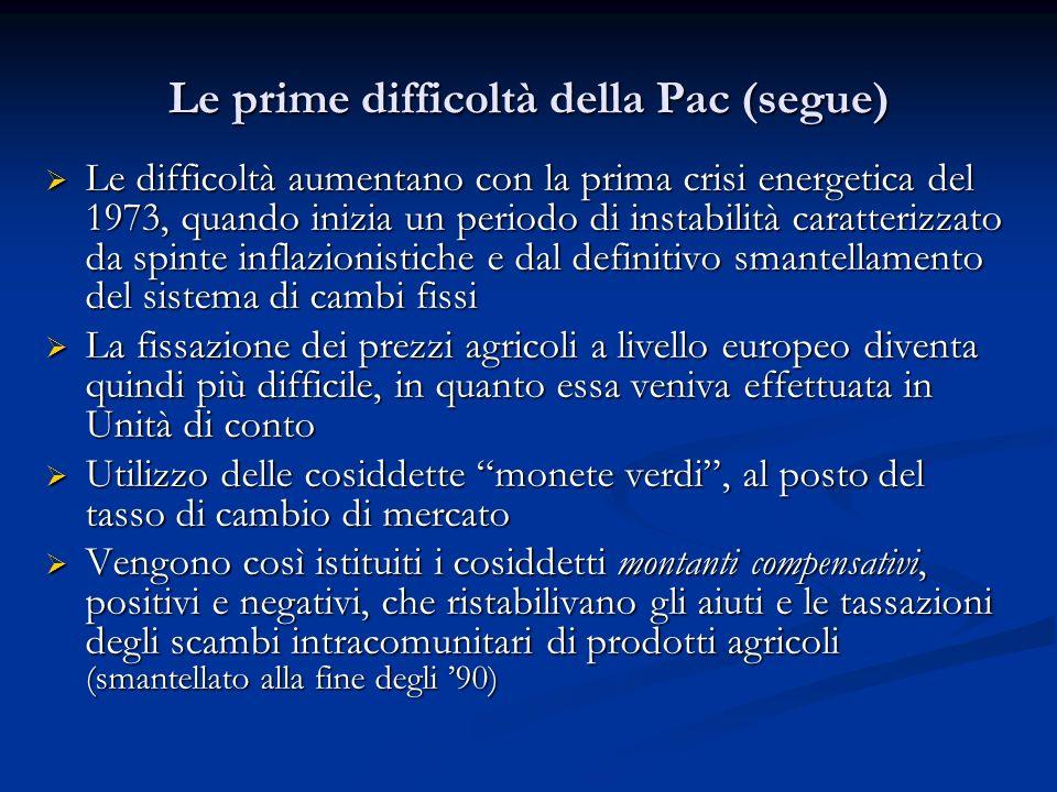 Le prime difficoltà della Pac (segue)