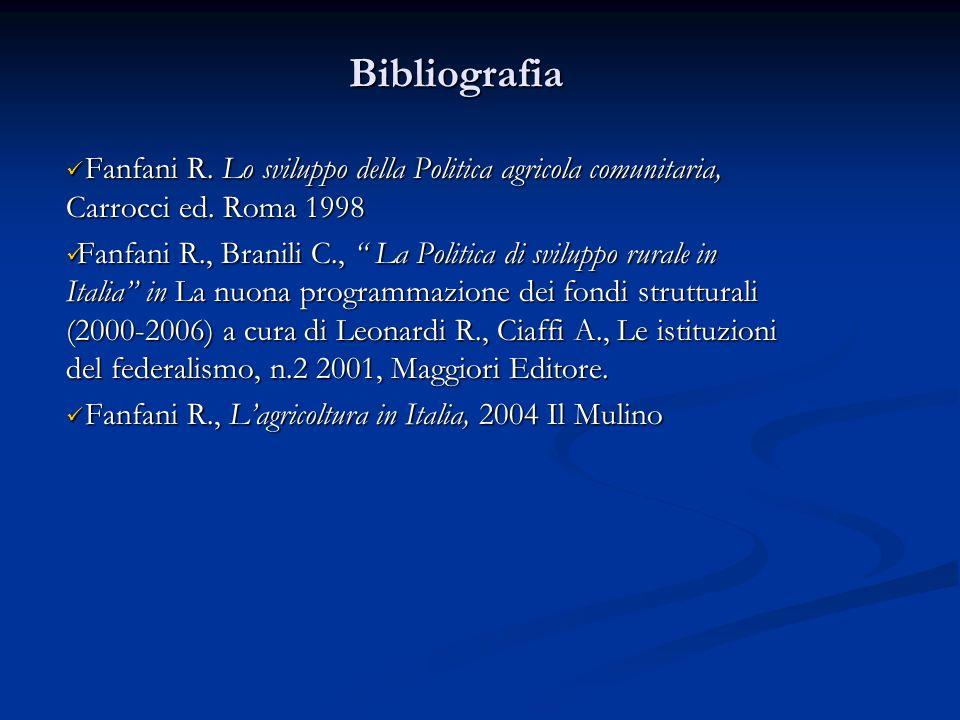 Bibliografia Fanfani R. Lo sviluppo della Politica agricola comunitaria, Carrocci ed. Roma 1998.