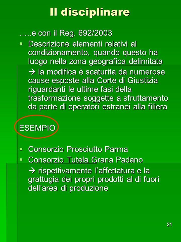 Il disciplinare …..e con il Reg. 692/2003