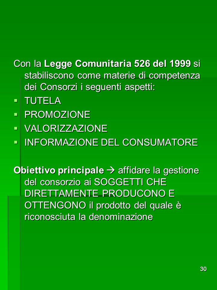 Con la Legge Comunitaria 526 del 1999 si stabiliscono come materie di competenza dei Consorzi i seguenti aspetti:
