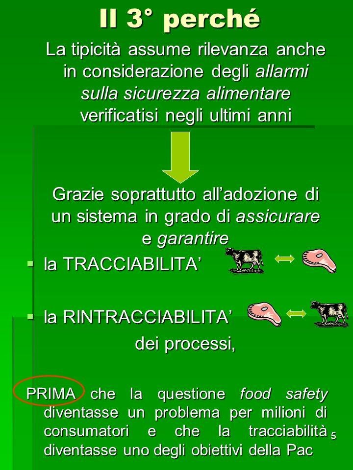 Il 3° perché La tipicità assume rilevanza anche in considerazione degli allarmi sulla sicurezza alimentare verificatisi negli ultimi anni.