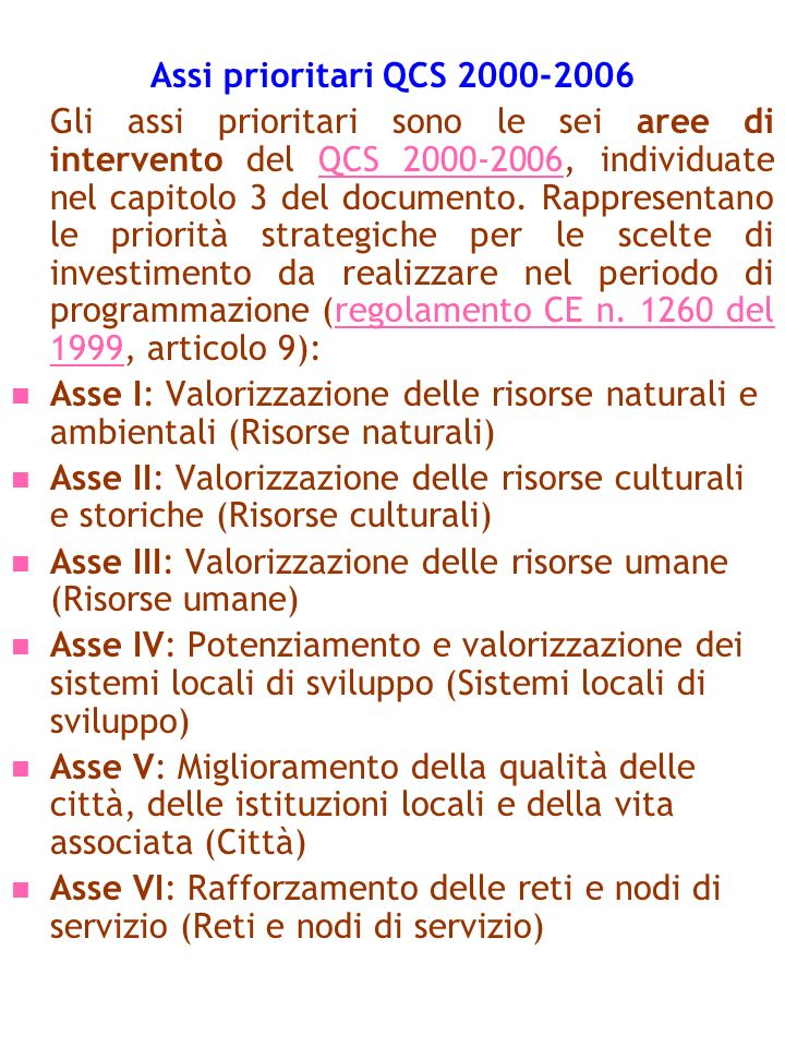 Assi prioritari QCS 2000-2006