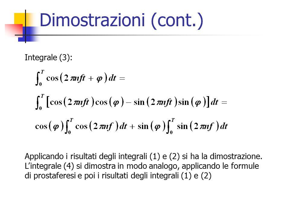 Dimostrazioni (cont.) Integrale (3):