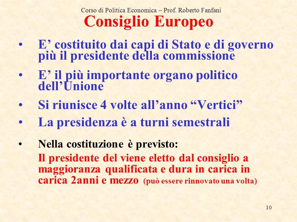 Consiglio Europeo E' costituito dai capi di Stato e di governo più il presidente della commissione.