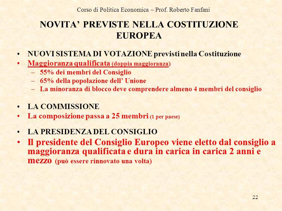 NOVITA' PREVISTE NELLA COSTITUZIONE EUROPEA