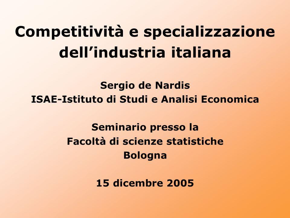 Competitività e specializzazione dell'industria italiana