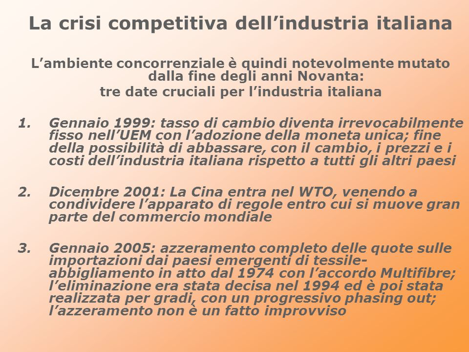 La crisi competitiva dell'industria italiana