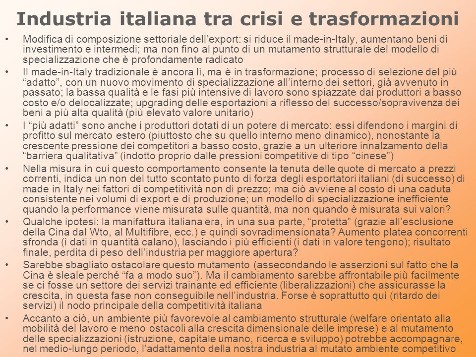 Industria italiana tra crisi e trasformazioni