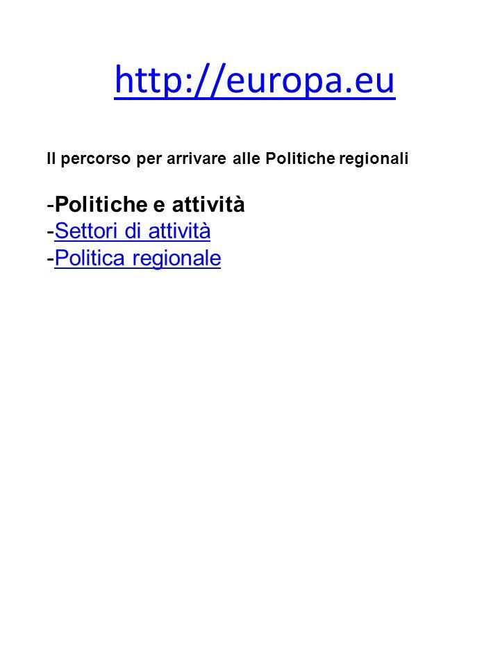 http://europa.eu Politiche e attività Settori di attività