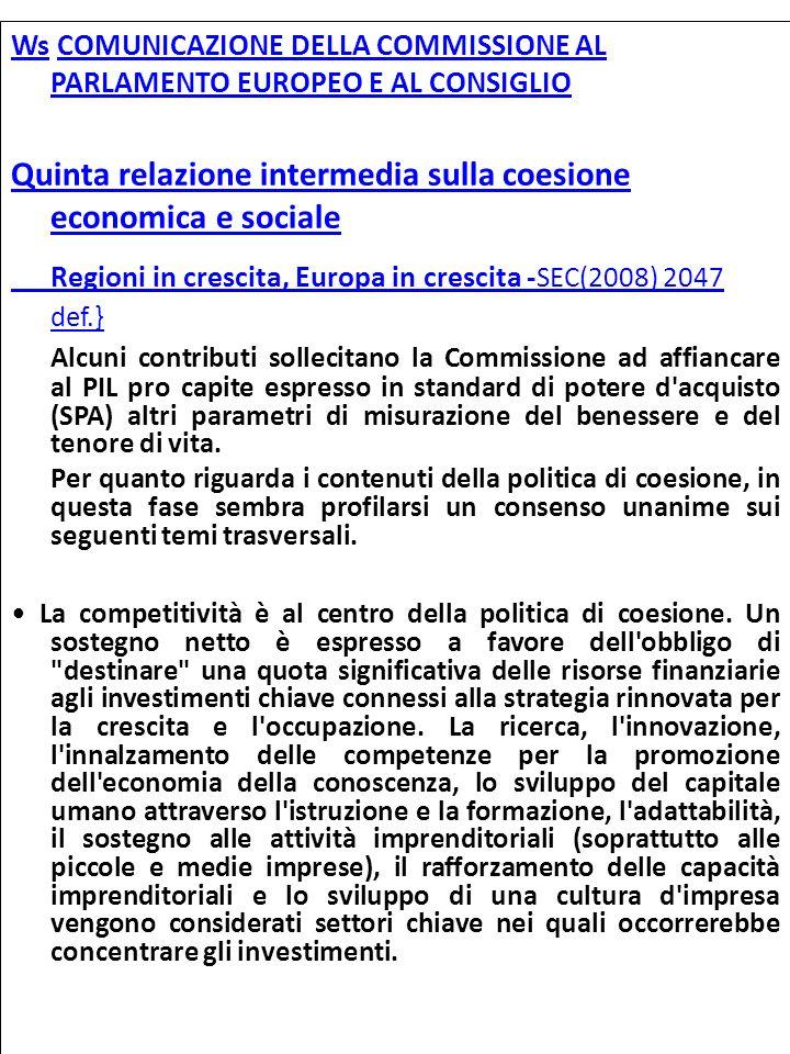 Regioni in crescita, Europa in crescita -SEC(2008) 2047 def.}