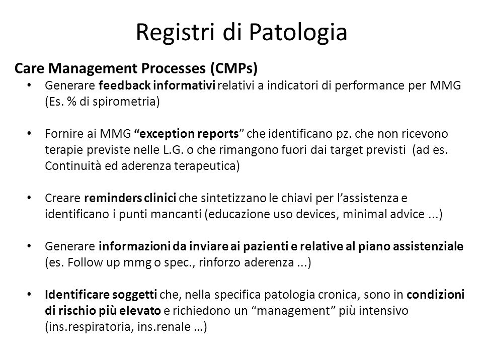 Registri di Patologia Care Management Processes (CMPs)