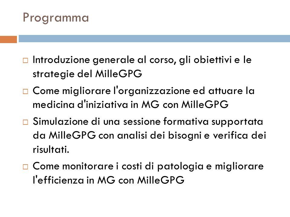 Programma Introduzione generale al corso, gli obiettivi e le strategie del MilleGPG.