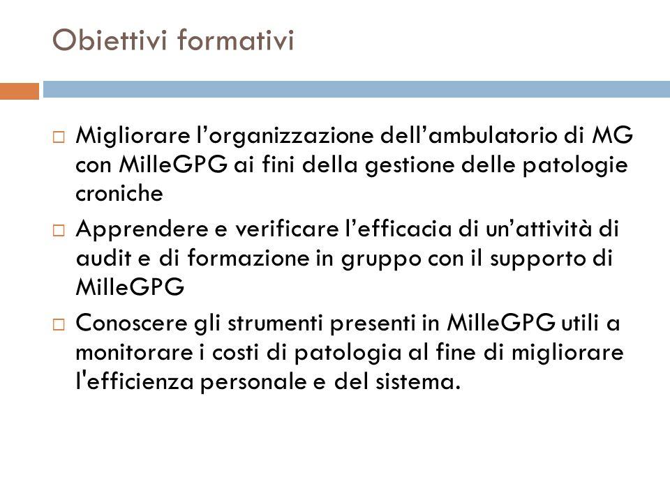 Obiettivi formativi Migliorare l'organizzazione dell'ambulatorio di MG con MilleGPG ai fini della gestione delle patologie croniche.