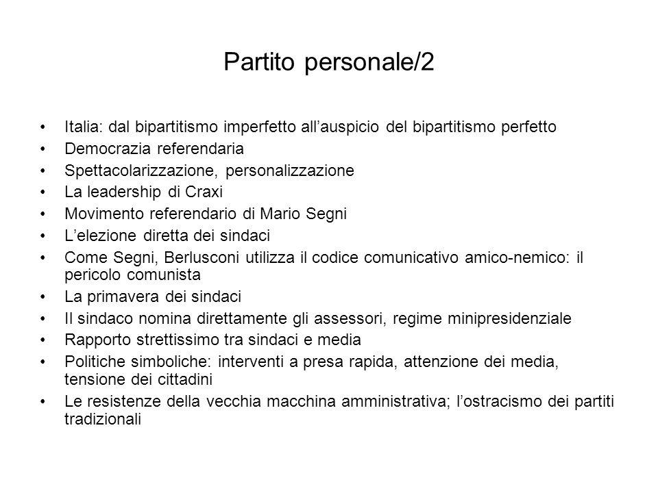 Partito personale/2 Italia: dal bipartitismo imperfetto all'auspicio del bipartitismo perfetto. Democrazia referendaria.