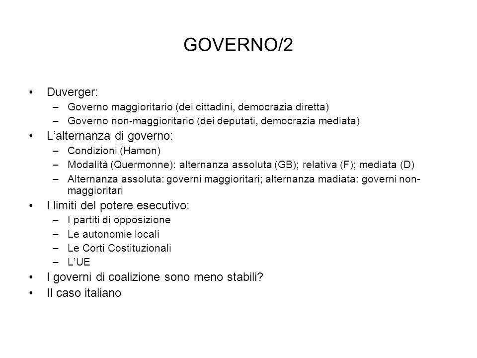 GOVERNO/2 Duverger: L'alternanza di governo:
