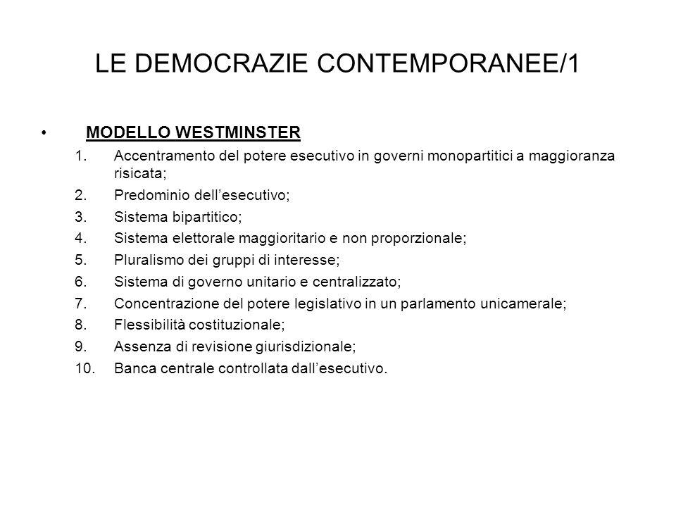 LE DEMOCRAZIE CONTEMPORANEE/1