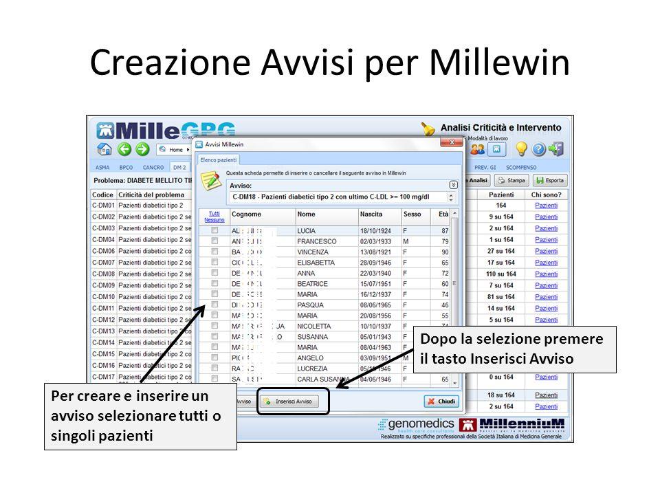 Creazione Avvisi per Millewin