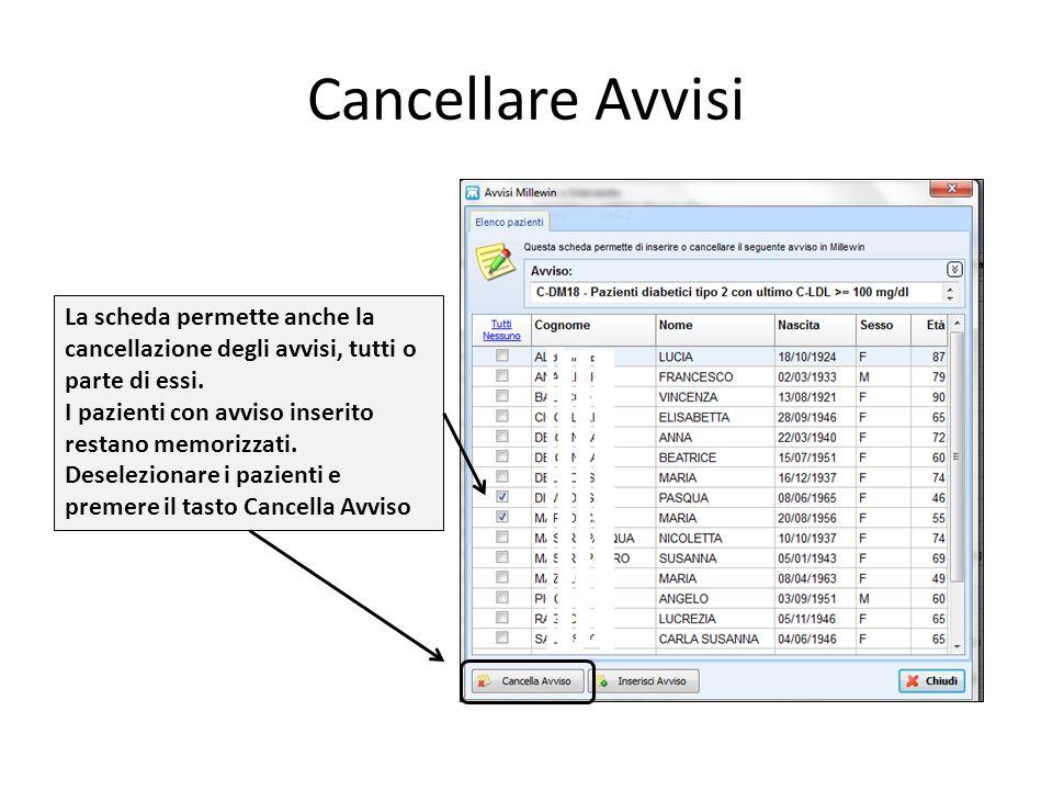 Cancellare Avvisi La scheda permette anche la cancellazione degli avvisi, tutti o parte di essi. I pazienti con avviso inserito restano memorizzati.