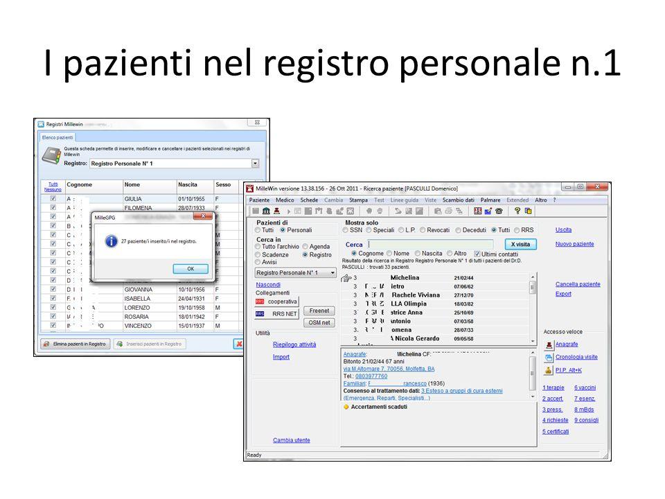 I pazienti nel registro personale n.1