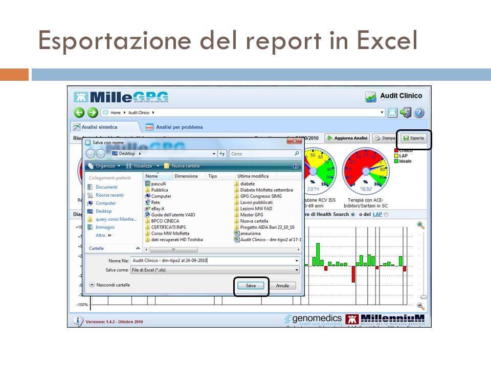 Esportazione del report in Excel