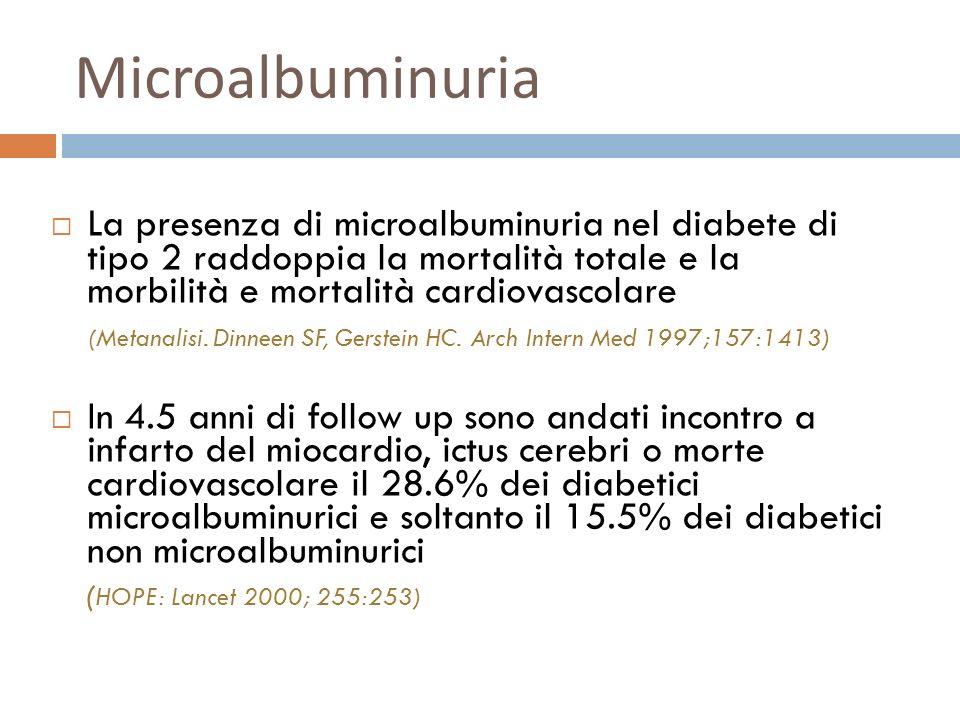 Microalbuminuria La presenza di microalbuminuria nel diabete di tipo 2 raddoppia la mortalità totale e la morbilità e mortalità cardiovascolare.