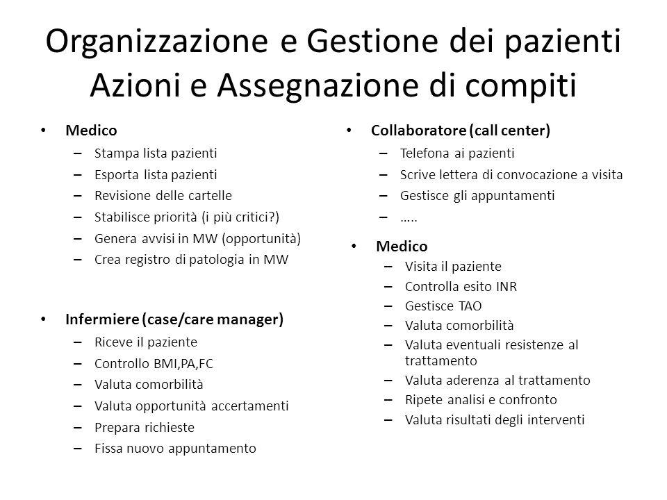 Organizzazione e Gestione dei pazienti Azioni e Assegnazione di compiti