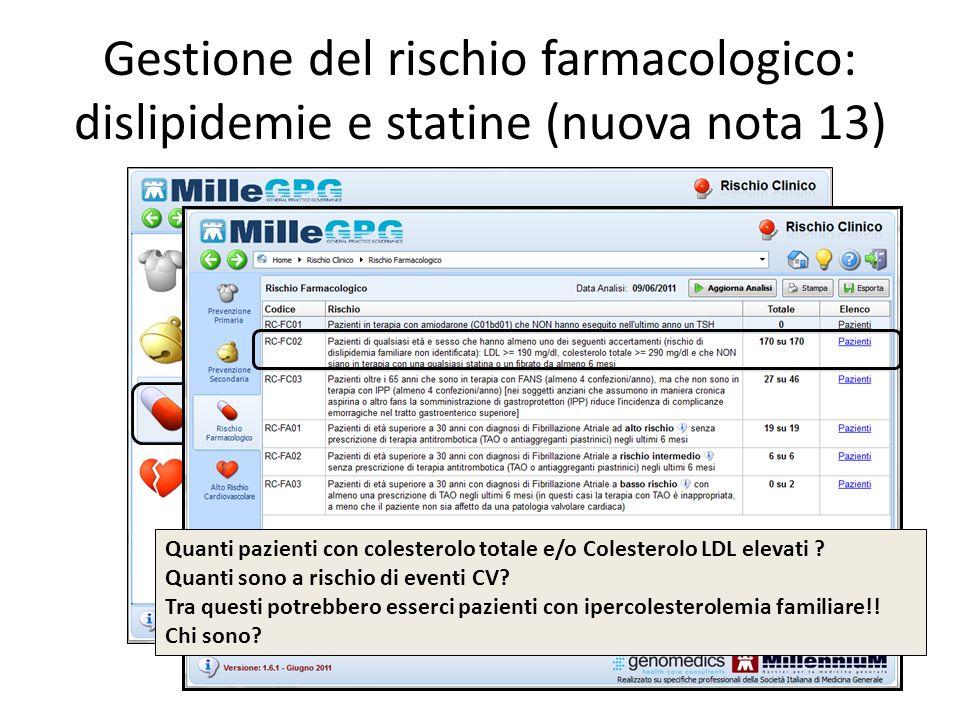 Gestione del rischio farmacologico: dislipidemie e statine (nuova nota 13)