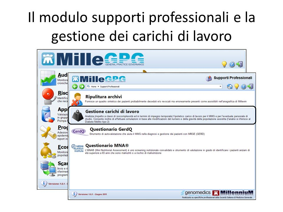 Il modulo supporti professionali e la gestione dei carichi di lavoro