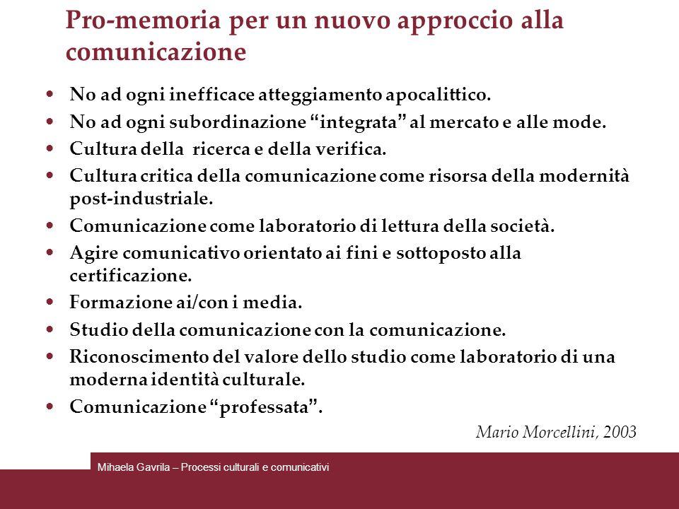 Pro-memoria per un nuovo approccio alla comunicazione