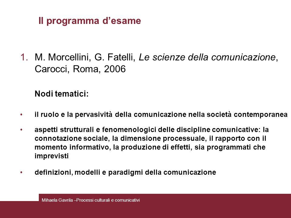 Il programma d'esame M. Morcellini, G. Fatelli, Le scienze della comunicazione, Carocci, Roma, 2006.