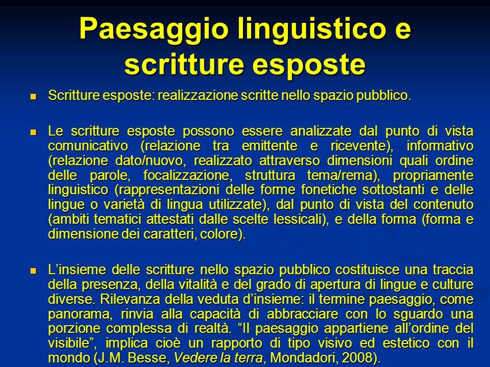 Paesaggio linguistico e scritture esposte