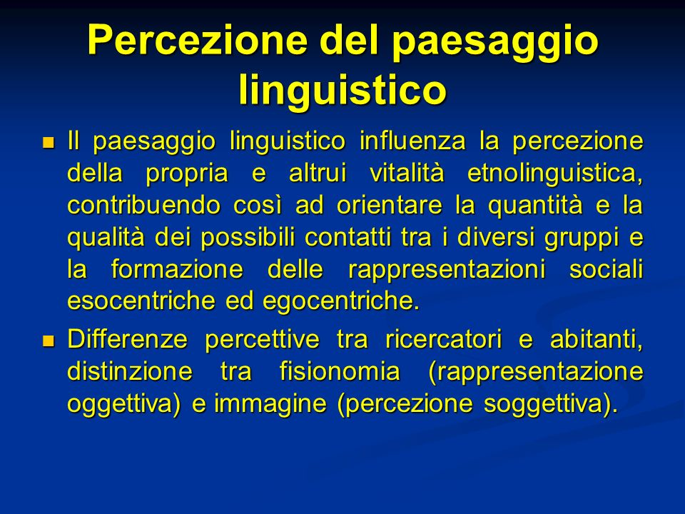 Percezione del paesaggio linguistico