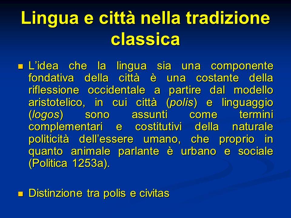 Lingua e città nella tradizione classica