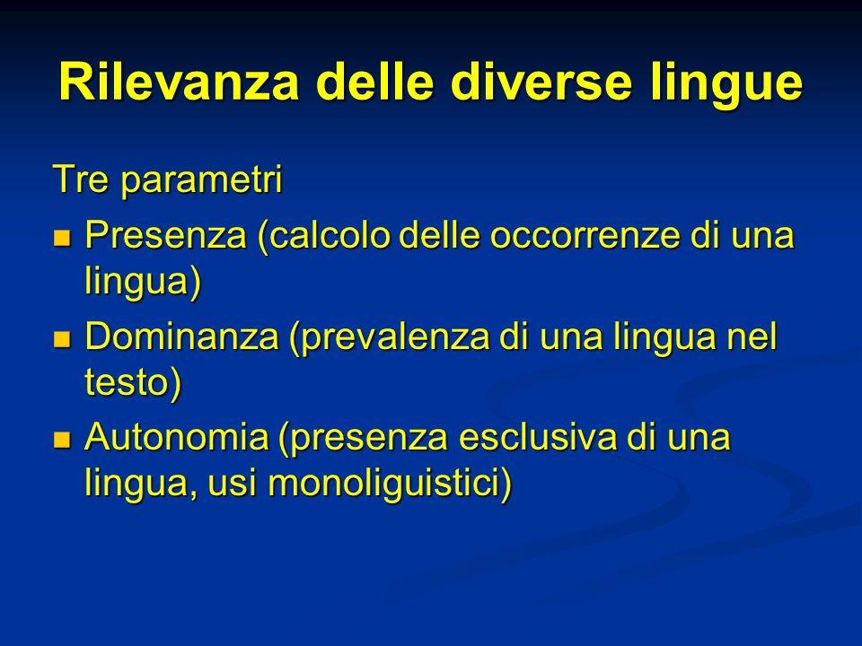 Rilevanza delle diverse lingue