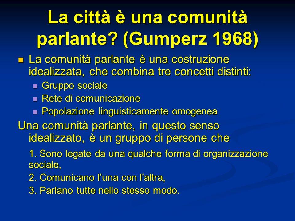 La città è una comunità parlante (Gumperz 1968)