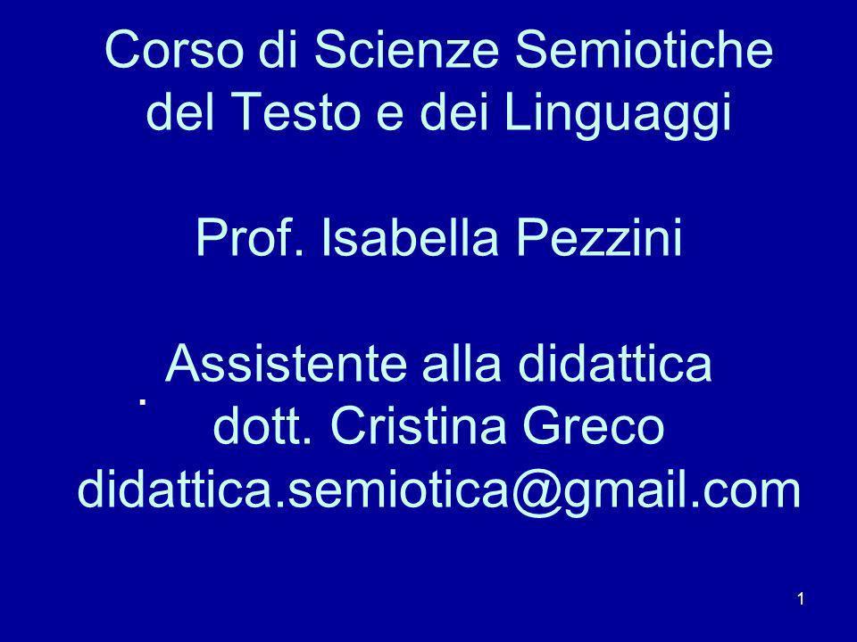 Corso di Scienze Semiotiche del Testo e dei Linguaggi Prof