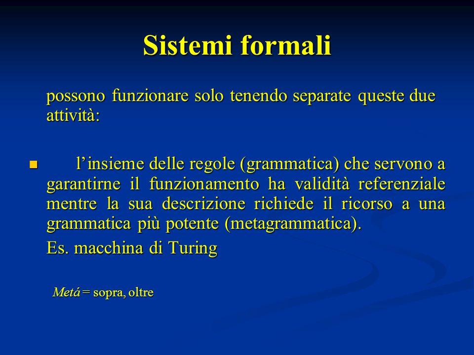 Sistemi formali possono funzionare solo tenendo separate queste due attività: