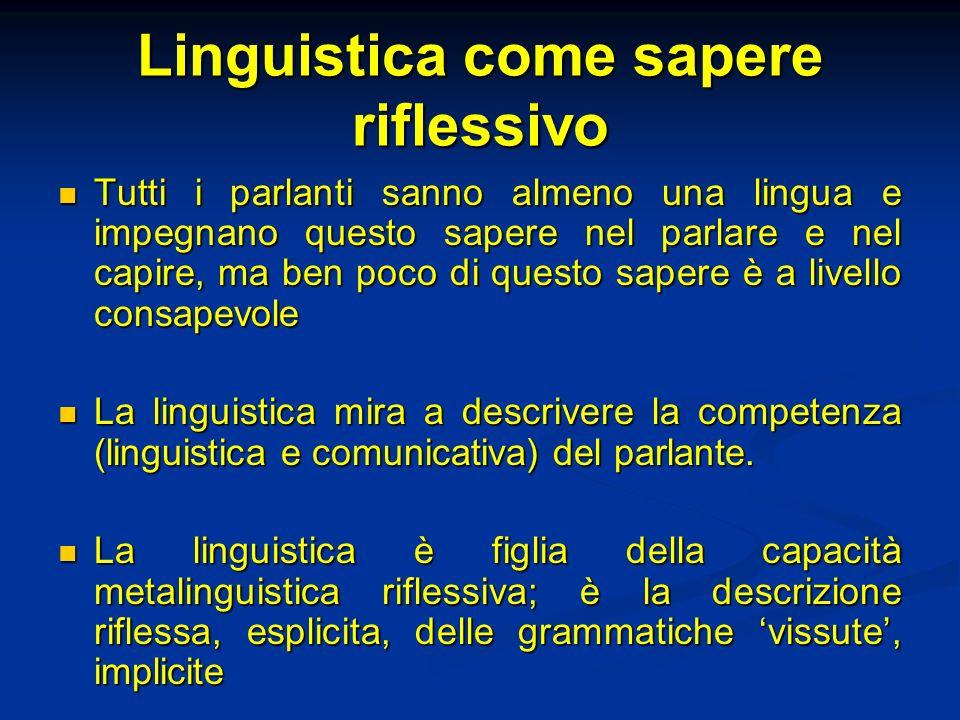Linguistica come sapere riflessivo