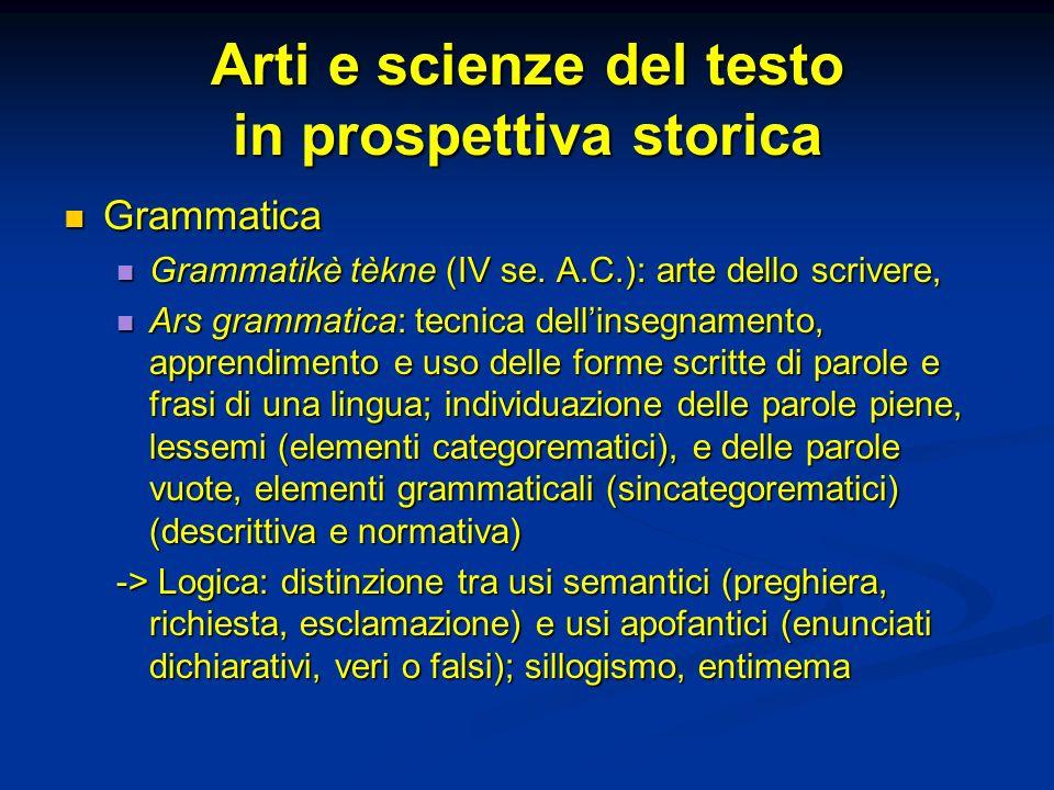 Arti e scienze del testo in prospettiva storica